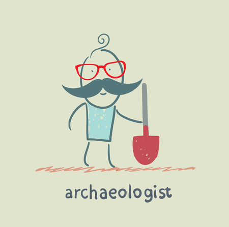 archaeologist holding a shovel Stock Vector - 23712398