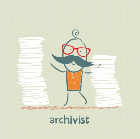 pile of papers: archivist is standing near the pile of papers