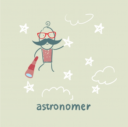 astronomer flies in the stars Vector