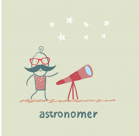 astrologer: astronomer looking through a telescope
