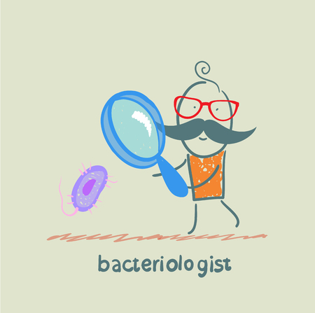 reagents: bacteriologist looks through a magnifying glass on microbes