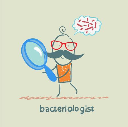 bacterioloog kijkt door een vergrootglas op kiemen en denkt van hen