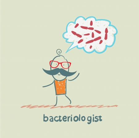 bacteriologist thinks about germs Stock Vector - 23712408