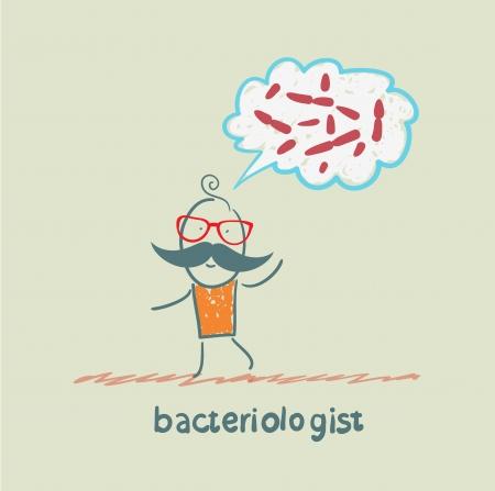 bacterioloog denkt over ziektekiemen Stock Illustratie