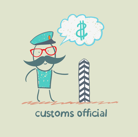 customs: customs officer thinks about money