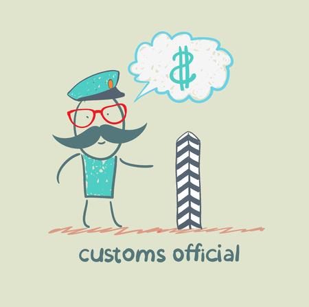 aduana: funcionario de aduanas piensa acerca del dinero