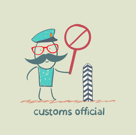 customs official: customs officer holding a stop sign
