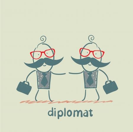 diplomats: diplomats shake hands Illustration