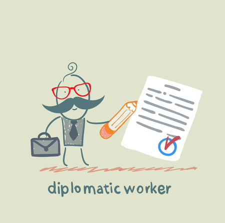 diplomatic: diplomatic worker writes the document