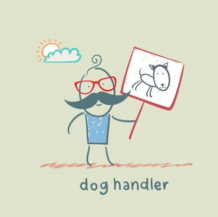 canine holds a poster with a dog Ilustrace