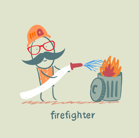 firefighter puts out the trash Stock Vector - 23708899