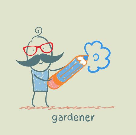 cactus flower: draws a flower gardener Illustration
