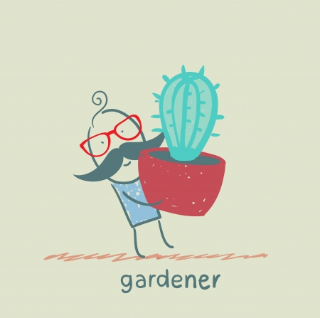 carries: gardener carries a cactus Illustration