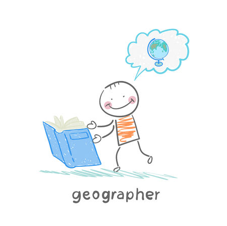 navigating: geographer reading a book about the planet