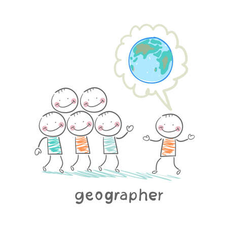 geographer tells people about the planet Stock Vector - 23708861
