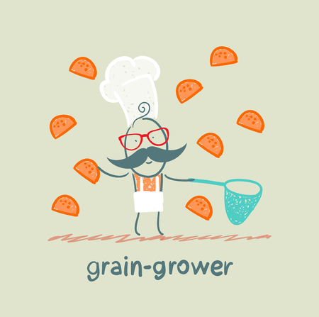 grower: grain grower catches a net rolls Illustration
