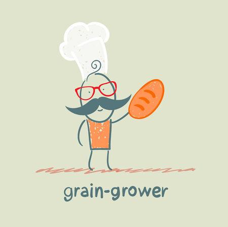 grain grower keeps bread Vector