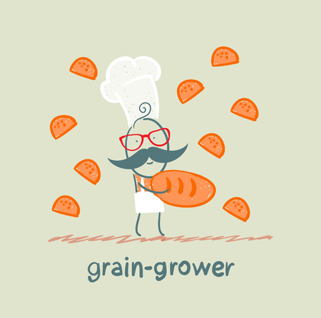 grower: grain grower keeps the bread and butterflies fly around Illustration