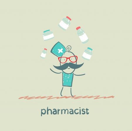 pharmaceutics: pharmacist juggles medicines