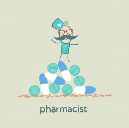 druggist: pharmacist is on a pile of pills and capsules