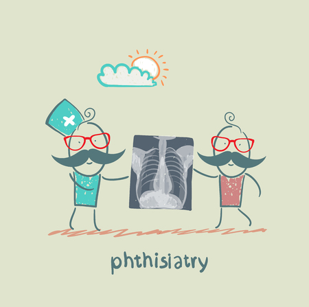 lesions: phthisiatry chest X-ray shows Illustration