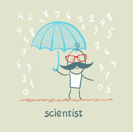 Scientist holding an umbrella from the rain with numbers 矢量图像