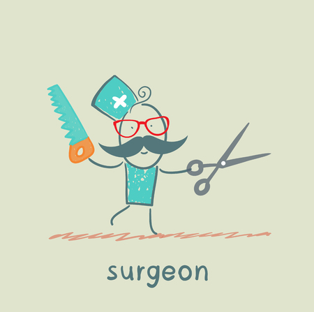 heart surgery: Surgeon holding a saw and scissors