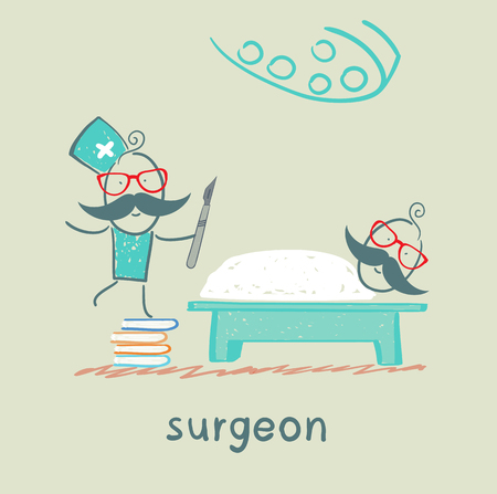 operating: surgeon holding a scalpel and stands on a pile of books next to a patient who is lying on the operating table