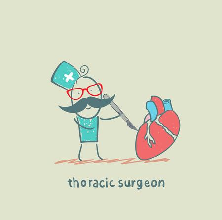 klatki piersiowej: piersiowej chirurg operuje na sercu skalpelem