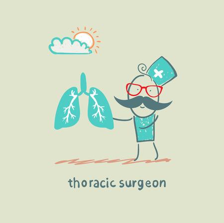 thoracic surgeon with light