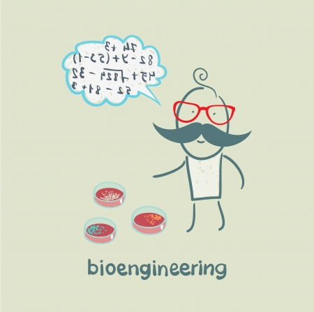 bioengineer thinking about the numbers and looking at test tube Stock Vector - 23712428