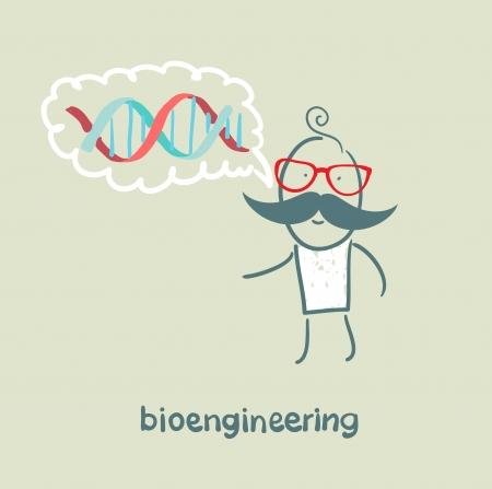 bioengineer thinks of human DNA Stock Vector - 23761288