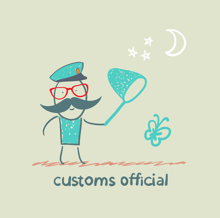 customs officer catches the butterfly a net Stock Vector - 23761352