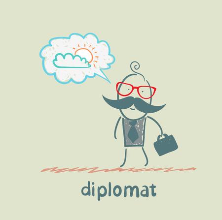 dream job: diplomat dreaming of sunshine Illustration