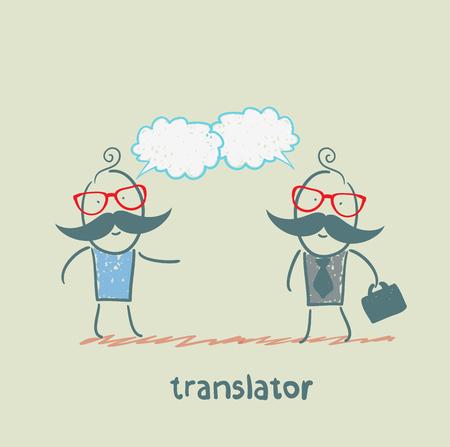 multilingual: translator speaks with a businessman Illustration