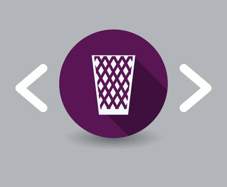 wastepaper basket: trash can icon