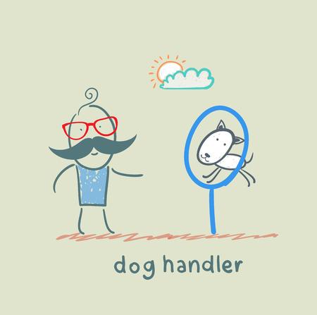 teaches: canine teaches the dog to jump through a ring Illustration