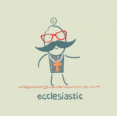 clergy: ecclesiastic going to church Illustration