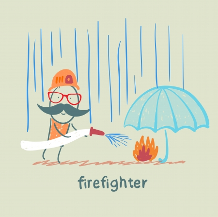 firefighter stands in the rain and extinguish the fire under the umbrella Illustration