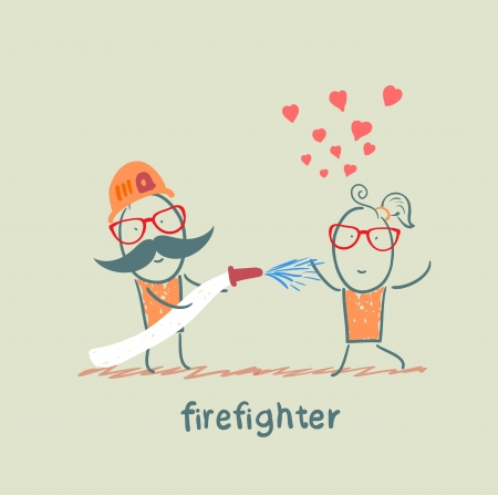 fell: firefighter extinguishes a girl who fell in love Illustration