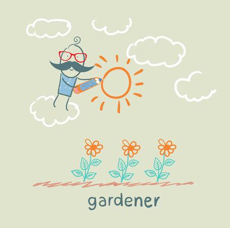 cactus flower: gardener draws sun flower Illustration