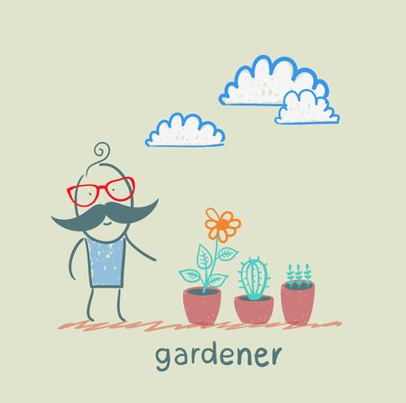 cactus flower: gardener looking for plants Illustration