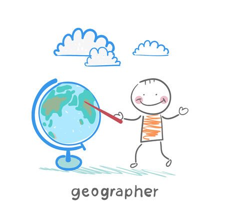geographer shows on the globe Stock Vector - 23712512