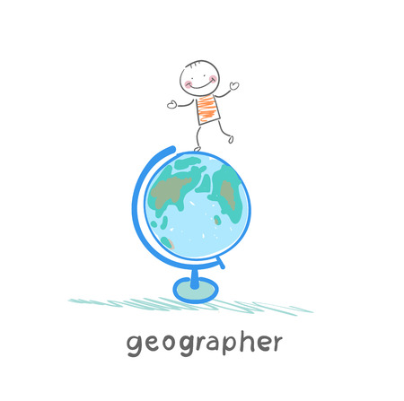 geographer is on the globe Stock Vector - 23761513