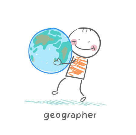 geographer keeps the planet in the hands of Stock Vector - 23712511