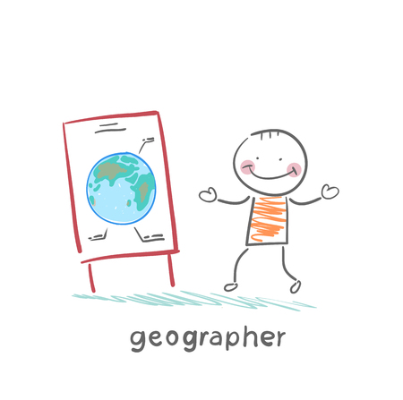 geographer tells the story of the planet Stock Vector - 23761512