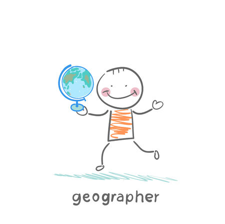 navigating: geographer is in the hands of the globe Illustration
