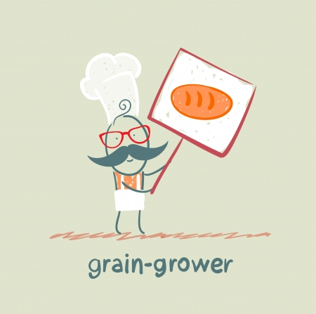 plate of food: grain grower holds a poster with bread