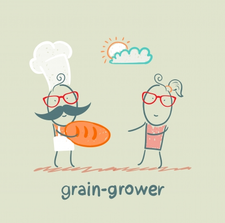 grower: grain grower gives bread a girl Illustration