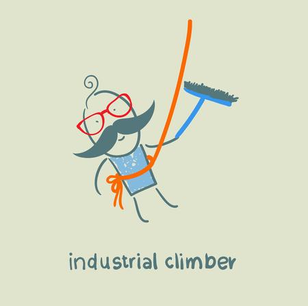 dangerous work: industrial climber washes windows Illustration